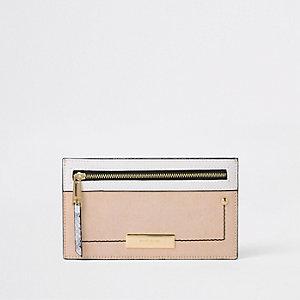 Beige metallic slim purse