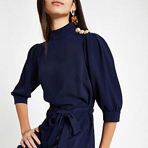 Navy button trim tie waist swing dress