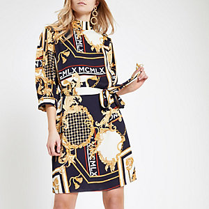 Navy baroque high neck tie waist dress