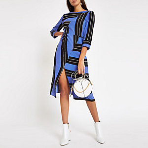 Blue stripe split front midi dress
