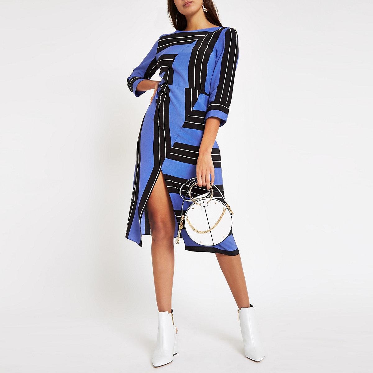 Blue stripe split front midi dress