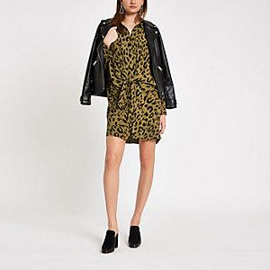 Khaki leopard print twist front shirt dress