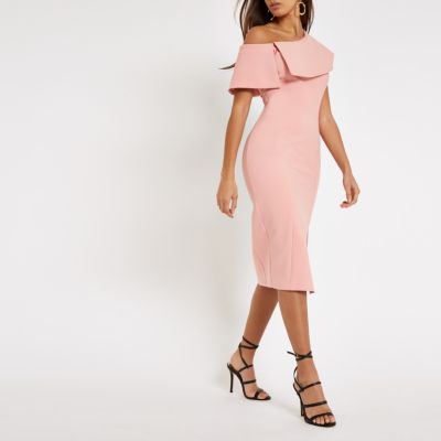 roze midi jurk