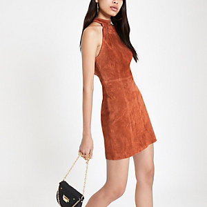 Rust suede halterneck dress