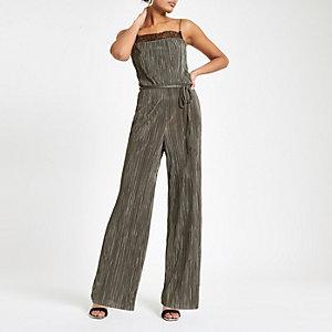 Dark green lace trim plisse jumpsuit