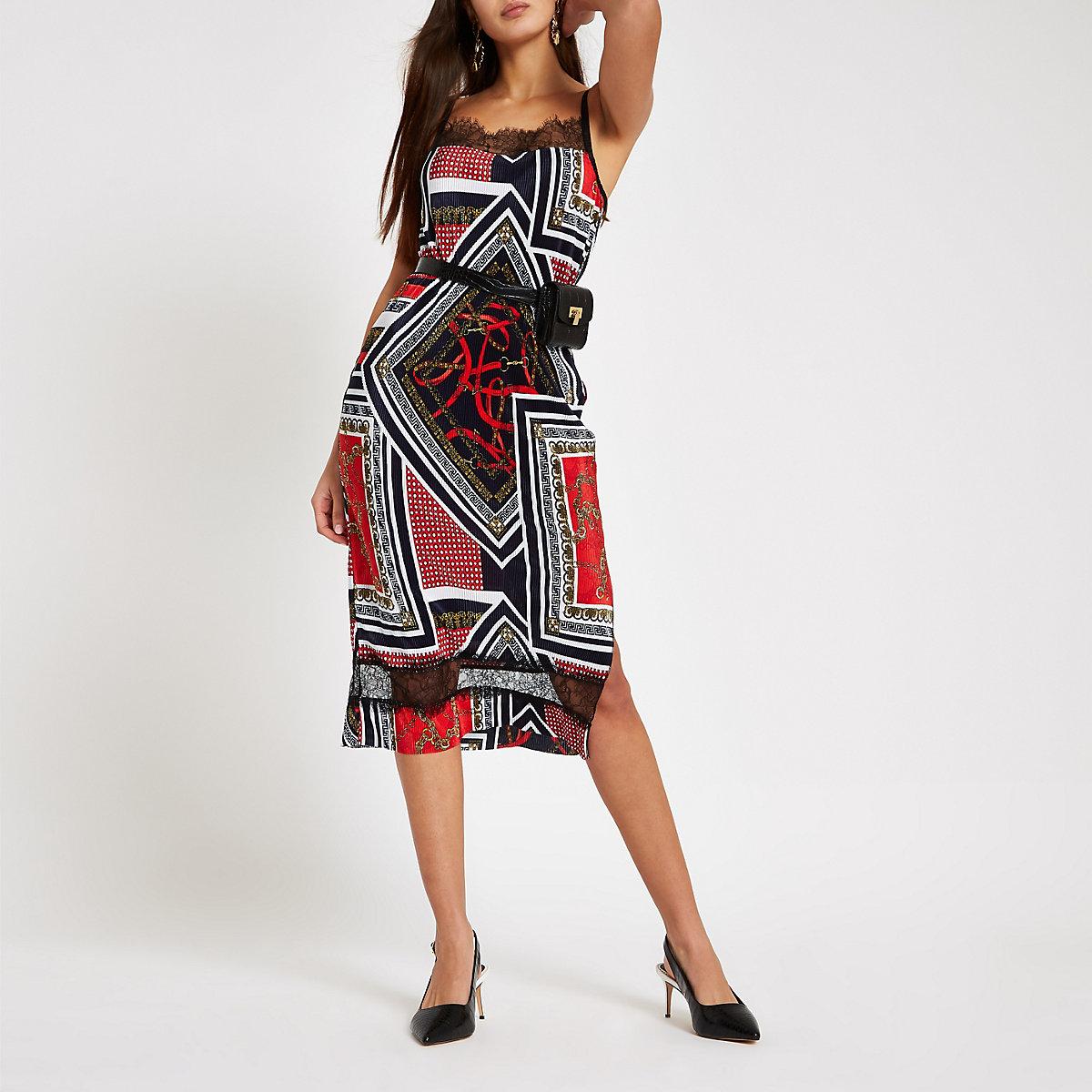 Red chain print plisse lace slip dress