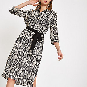 Grey snake print shirt dress