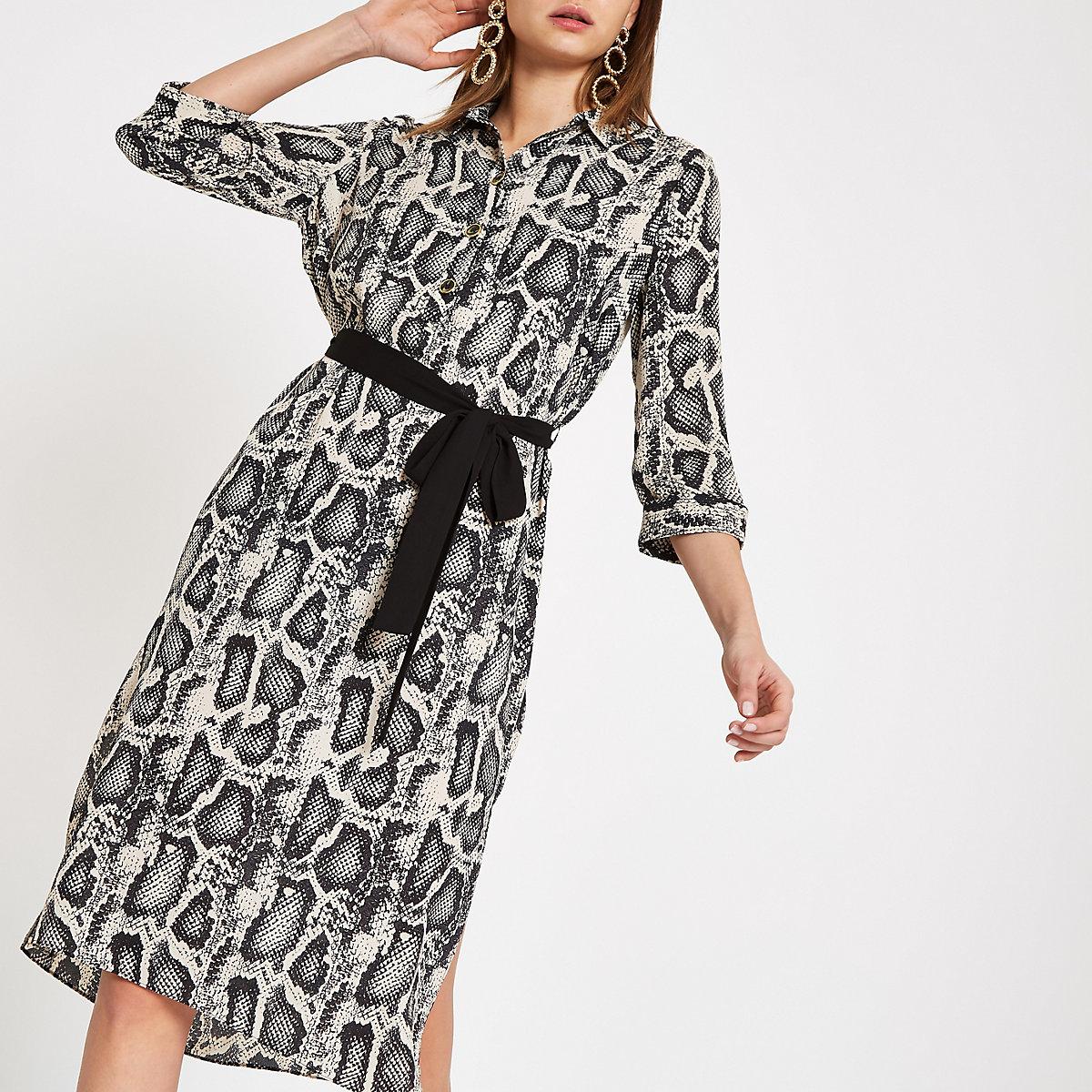 Grey snake print shirt dress