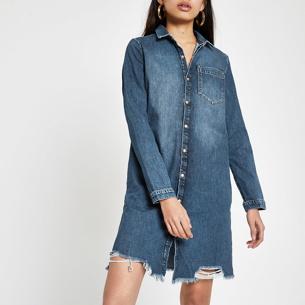 Mid blue ripped denim shirt dress