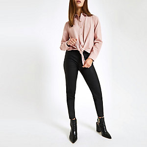 Petite pink tie front shirt
