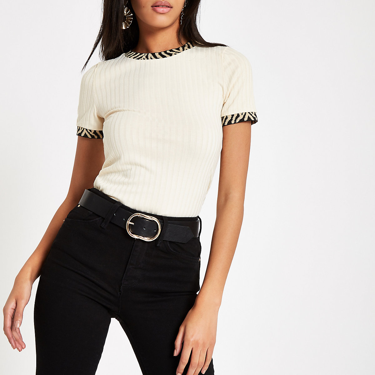 Cream zebra print trim ribbed T-shirt