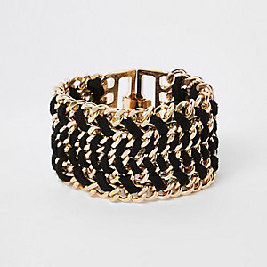Gold tone black thread through clasp bracelet