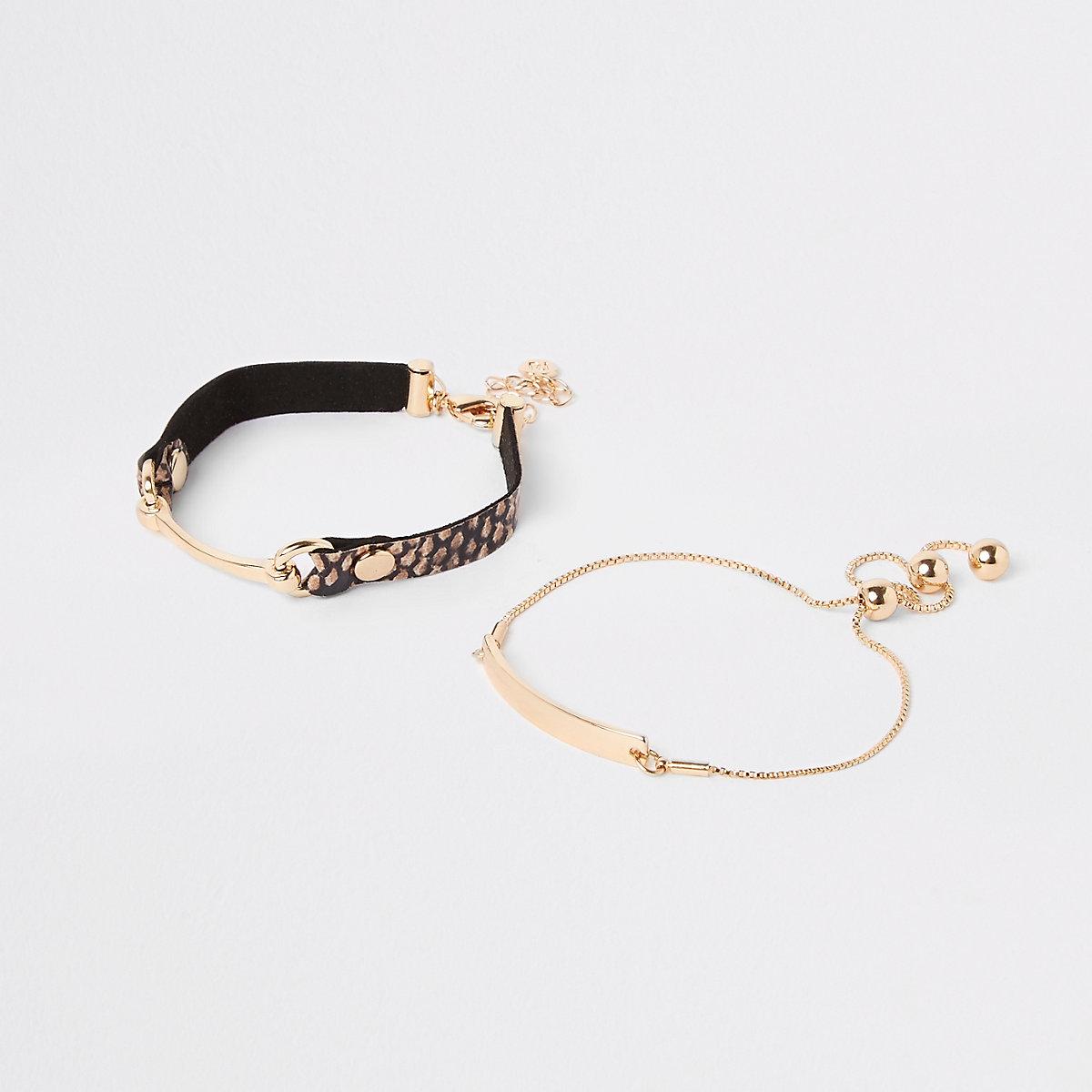 Brown snaffle bracelet multipack