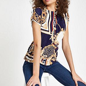 Blauwe plissé top met sjaalprint en strik op de rug