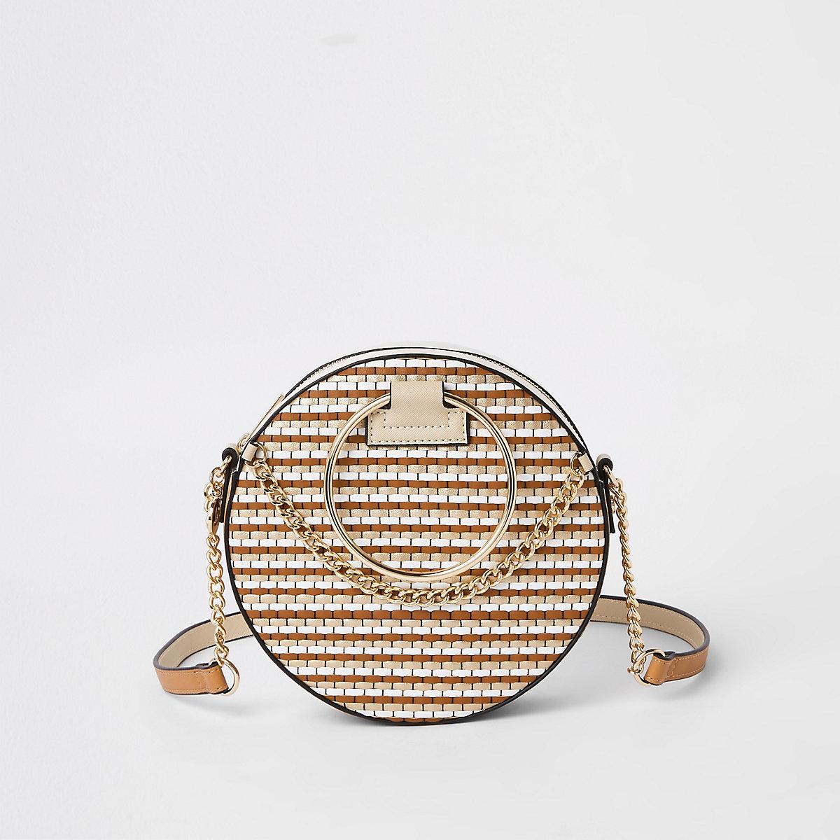 Beige weave circle cross body bag