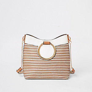 Beige ring handle weave tote bag