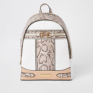 Beige snake print snaffle backpack
