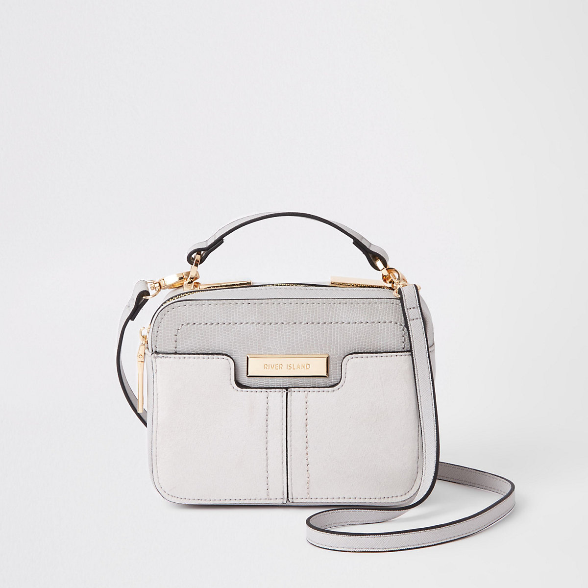 Grey pocket front mini cross body bag