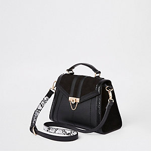 Black mini lock front wing cross body bag