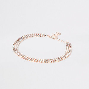 Rose gold tone diamante anklet
