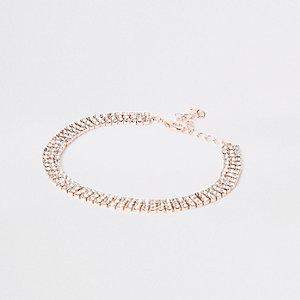 Roségoudkleurig enkelbandje met diamantje
