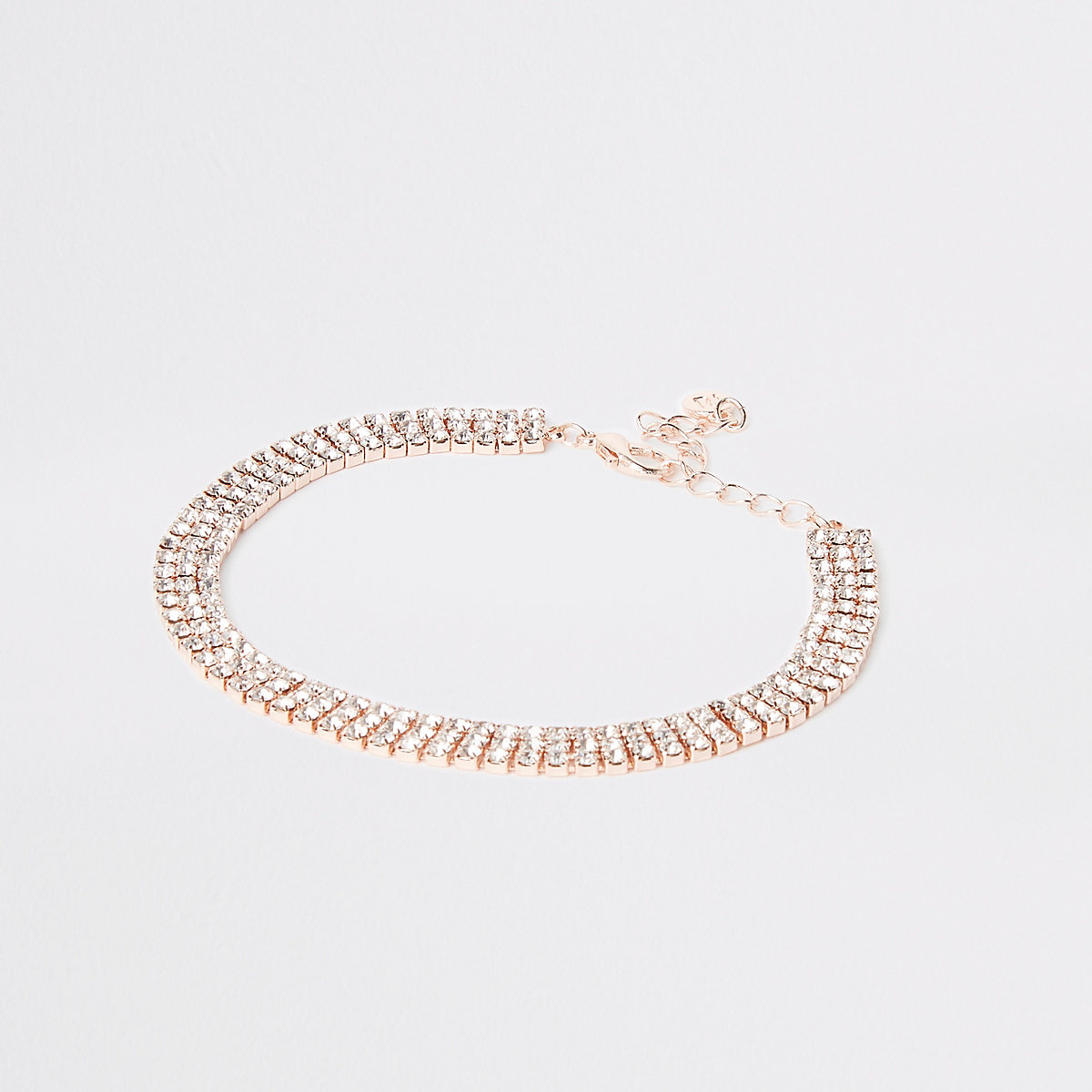 Rose gold colour diamante anklet