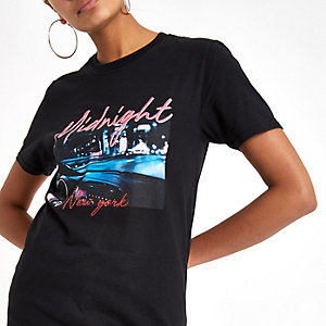 T-shirt à imprimé photo «Midnight» noir