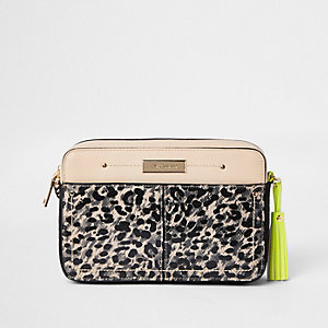 Brown leopard print neon cross body bag
