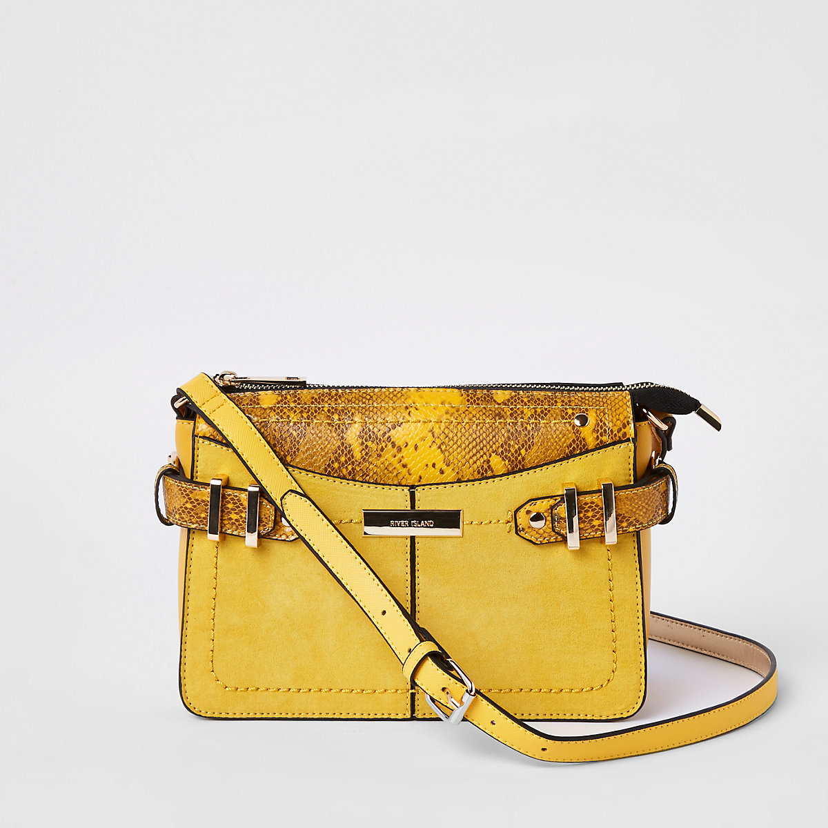 Yellow snake print cross body bag