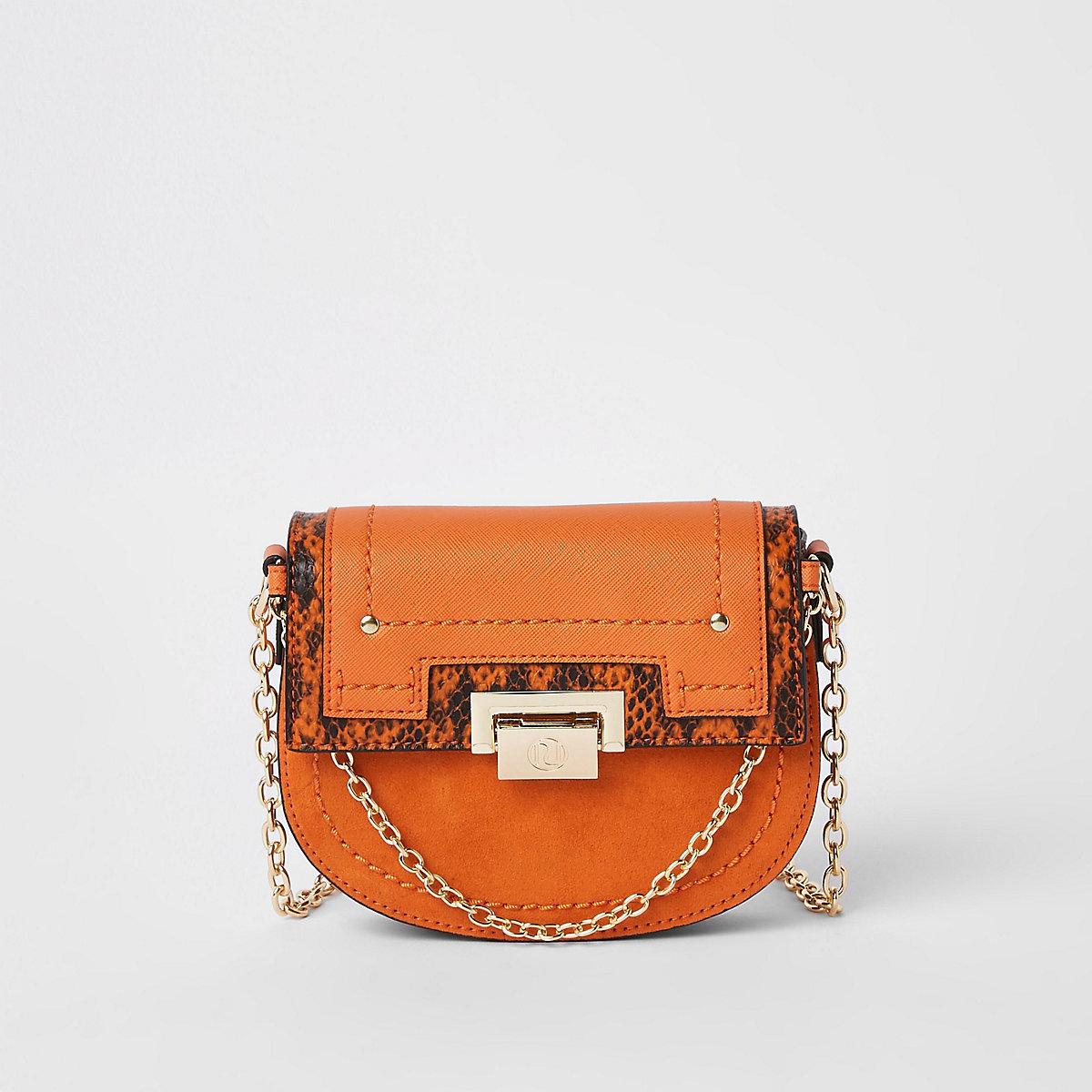 Orange saddle lock front chain cross body bag