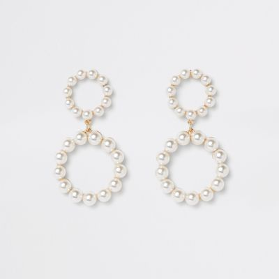 Gold Tone Pearl Double Ring Drop Earrings by River Island