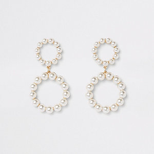Gold tone pearl double ring drop earrings