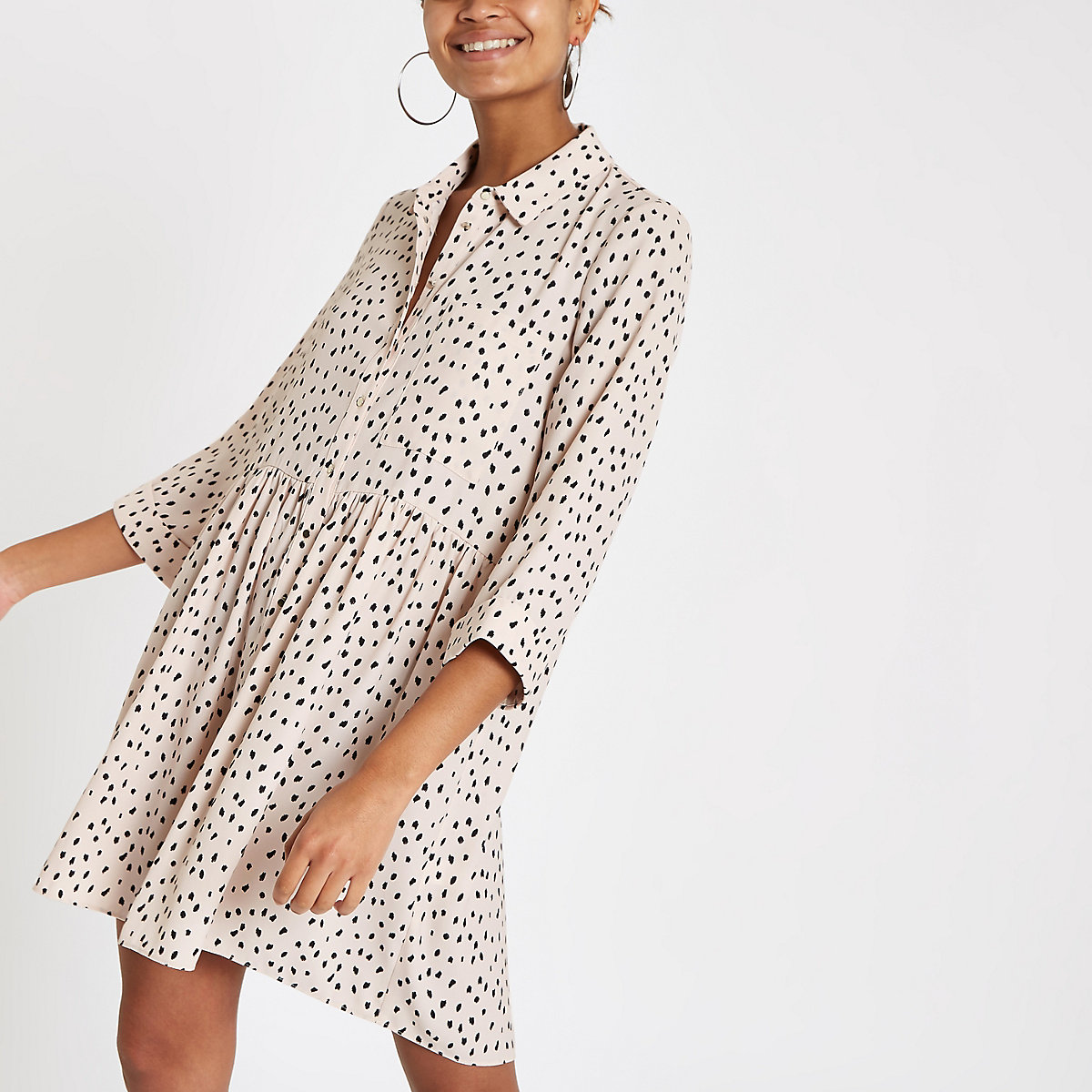 White spot long sleeve shirt dress