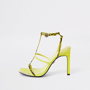 Neon yellow strappy heel sandals