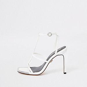 White strappy heel sandals