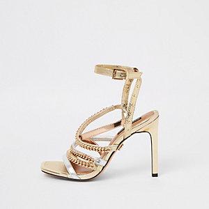 Sandales dorées multicolores à talon et bride à maillons