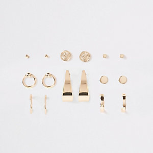 Gold tone coin and hoop stud earrings pack