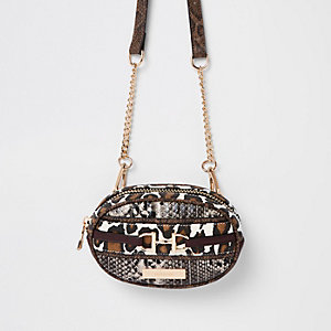Brown animal print belt bum bag