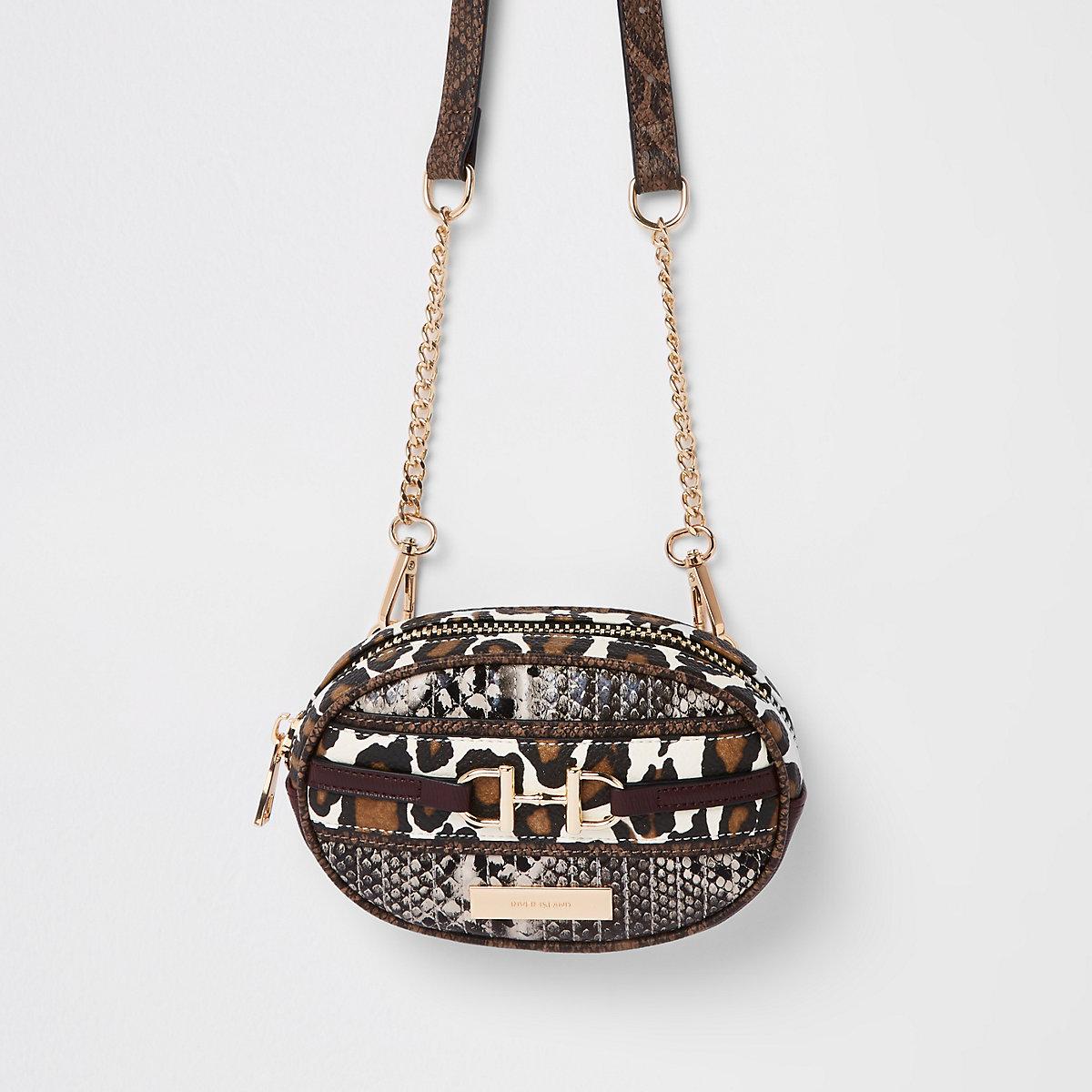 Brown animal print belt bum bag