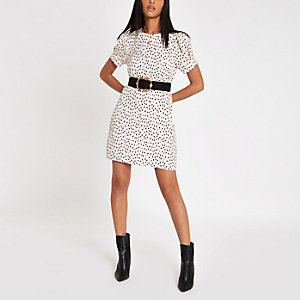 White leopard print swing dress