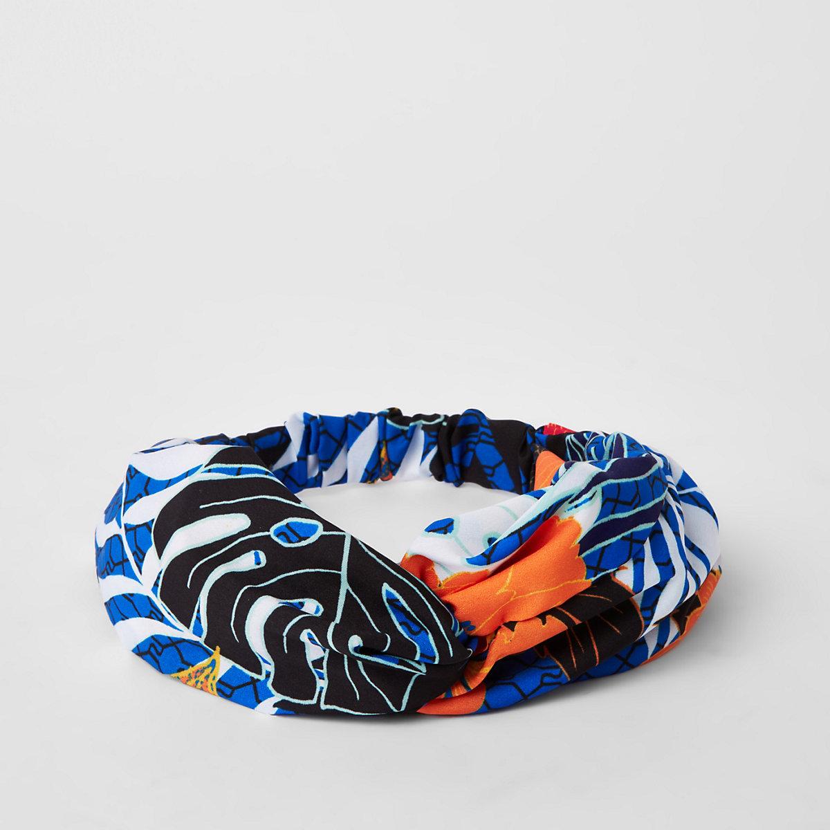 Blue RI printed twist headband