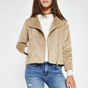 Petite beige faux suede biker jacket