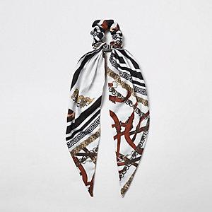 Schwarzer Schal mit Print