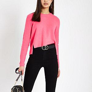 Felroze gebreide cropped pullover
