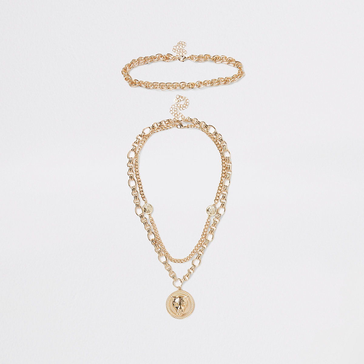 Gold color chunky lion pendant necklace