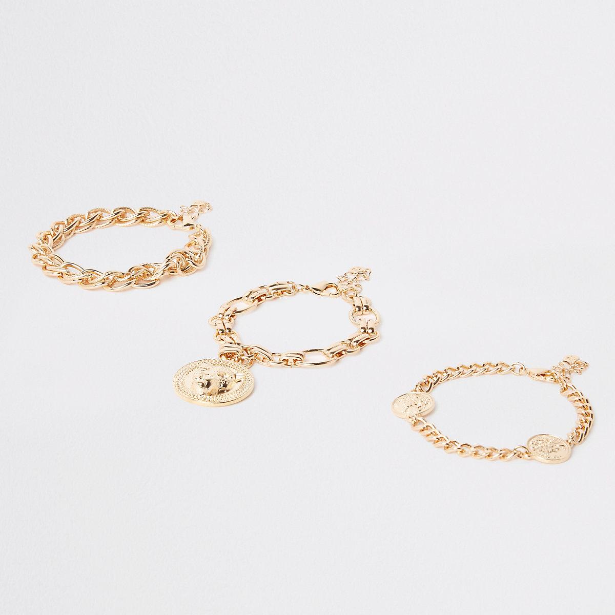 Gold tone lion head bracelet pack