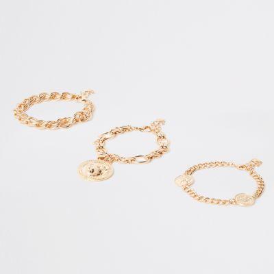Set Goudkleurige Armbanden Met Leeuwenkop by River Island