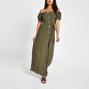 Petite – Robe longue Bardot kaki boutonnée sur le devant