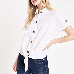 Wit cropped overhemd met strik voor