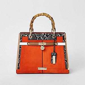 Orange lock front bamboo handle tote bag 7a7e4540ef97c